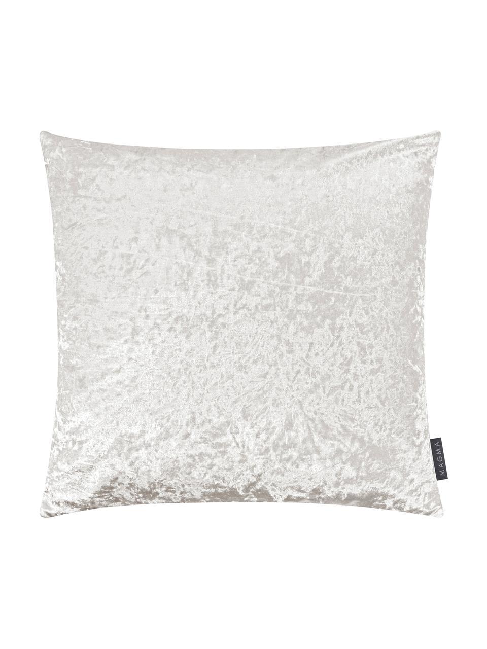Fluwelen kussenhoes Shanta met glinsterende vintage patroon, 100% polyester fluweel, Ivoorkleurig, 40 x 40 cm