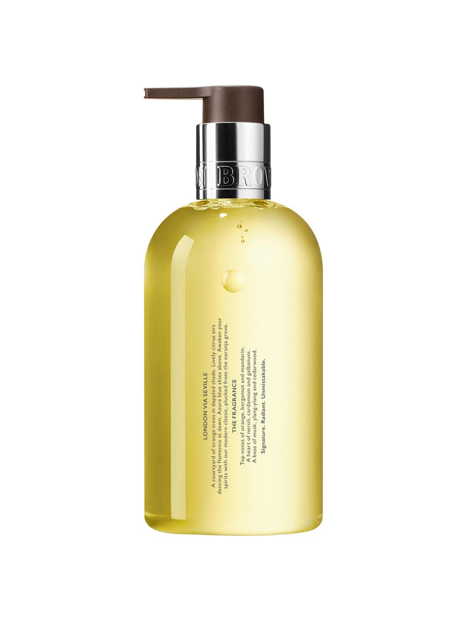 Flüssige Handseife Molton (Orange & Bergamotte), Behälter: Recycelbarer Kunststoff, Gelb, Ø 6 x H 15 cm
