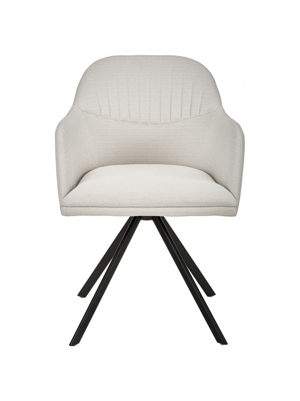 Polster-Drehstuhl Lola mit Armlehne, Bezug: Polyester, Füße: Metall, pulverbeschichtet, Webstoff Cremeweiß, Beine Schwarz, B 55 x T 52 cm