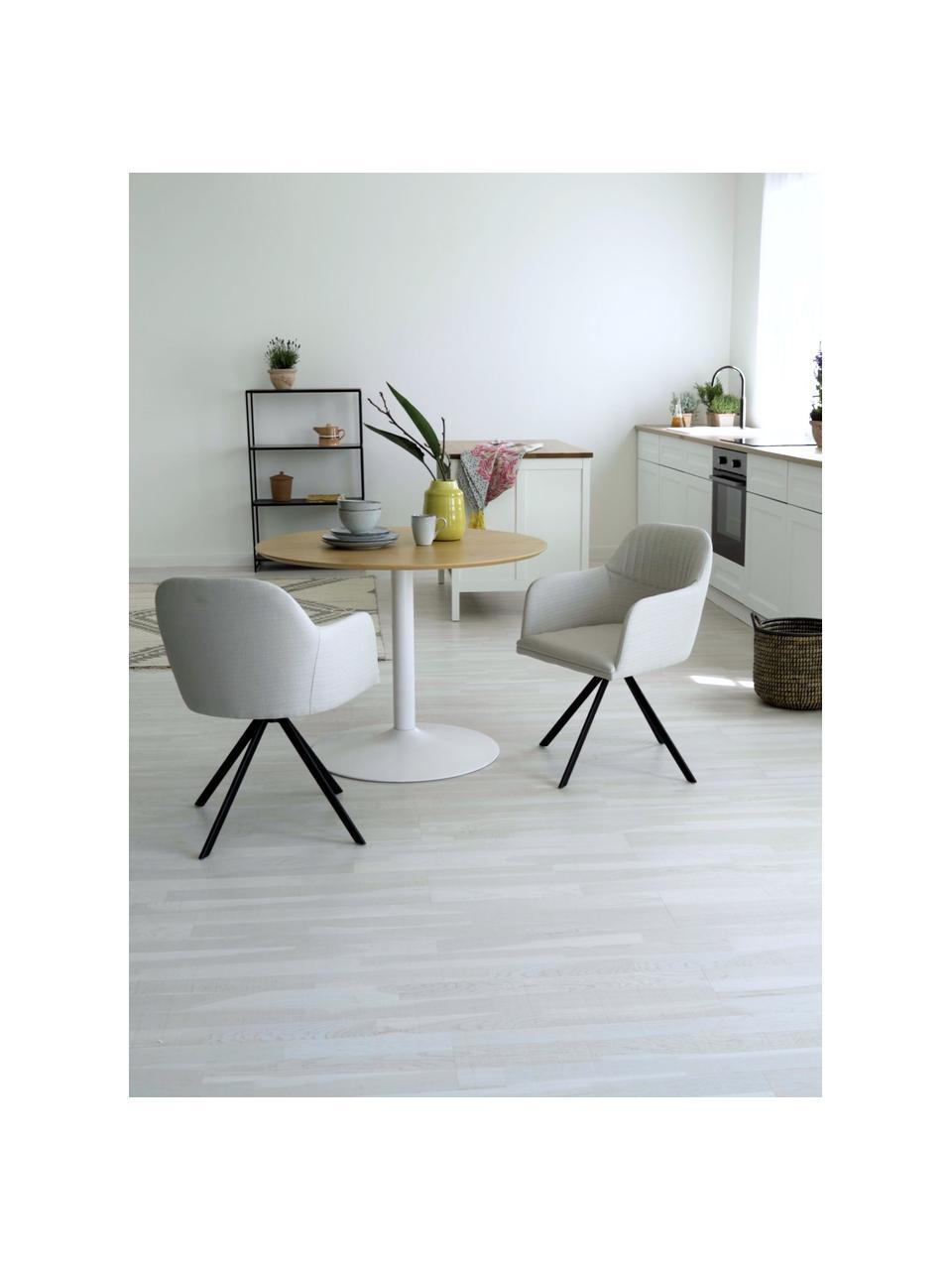 Tapicerowane krzesło z podłokietnikami Lola, obrotowe, Tapicerka: poliester, Nogi: metal malowany proszkowo, Kremowobiały, S 55 x G 52 cm