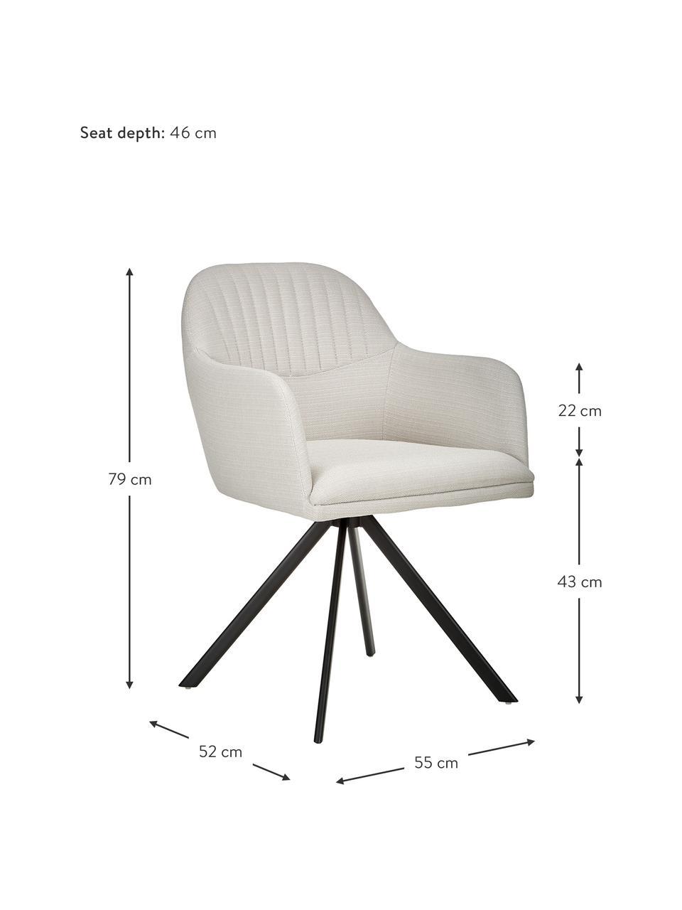 Čalouněná otočná židle spodručkami Lola, Krémově bílá
