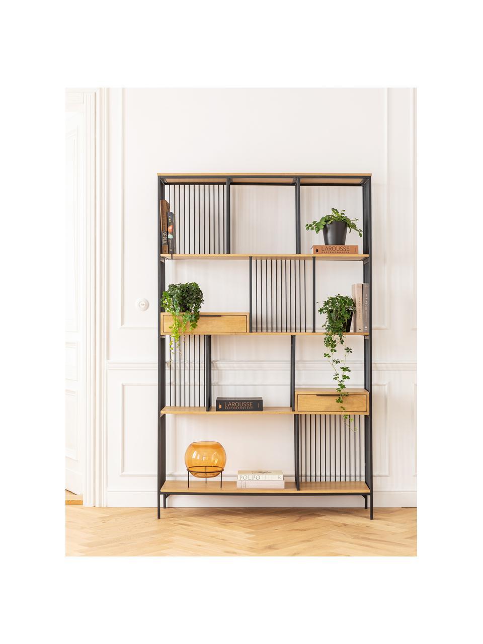 Wandrek Modena in hout en metaal, Frame: gepoedercoat metaal, Handvatten: gepoedercoat metaal, Zwart, 125 x 200 cm