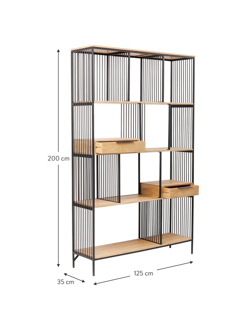 Libreria in legno e metallo Modena, Struttura: metallo verniciato a polv, Nero, Larg. 125 x Alt. 200 cm