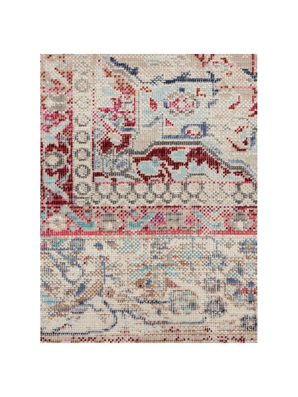 Vloerkleed Vintage Kashan met vintage patroon, Bovenzijde: 100% polypropyleen, Onderzijde: latex, Beige, rood, blauw, B 240 x L 300 cm (maat L)