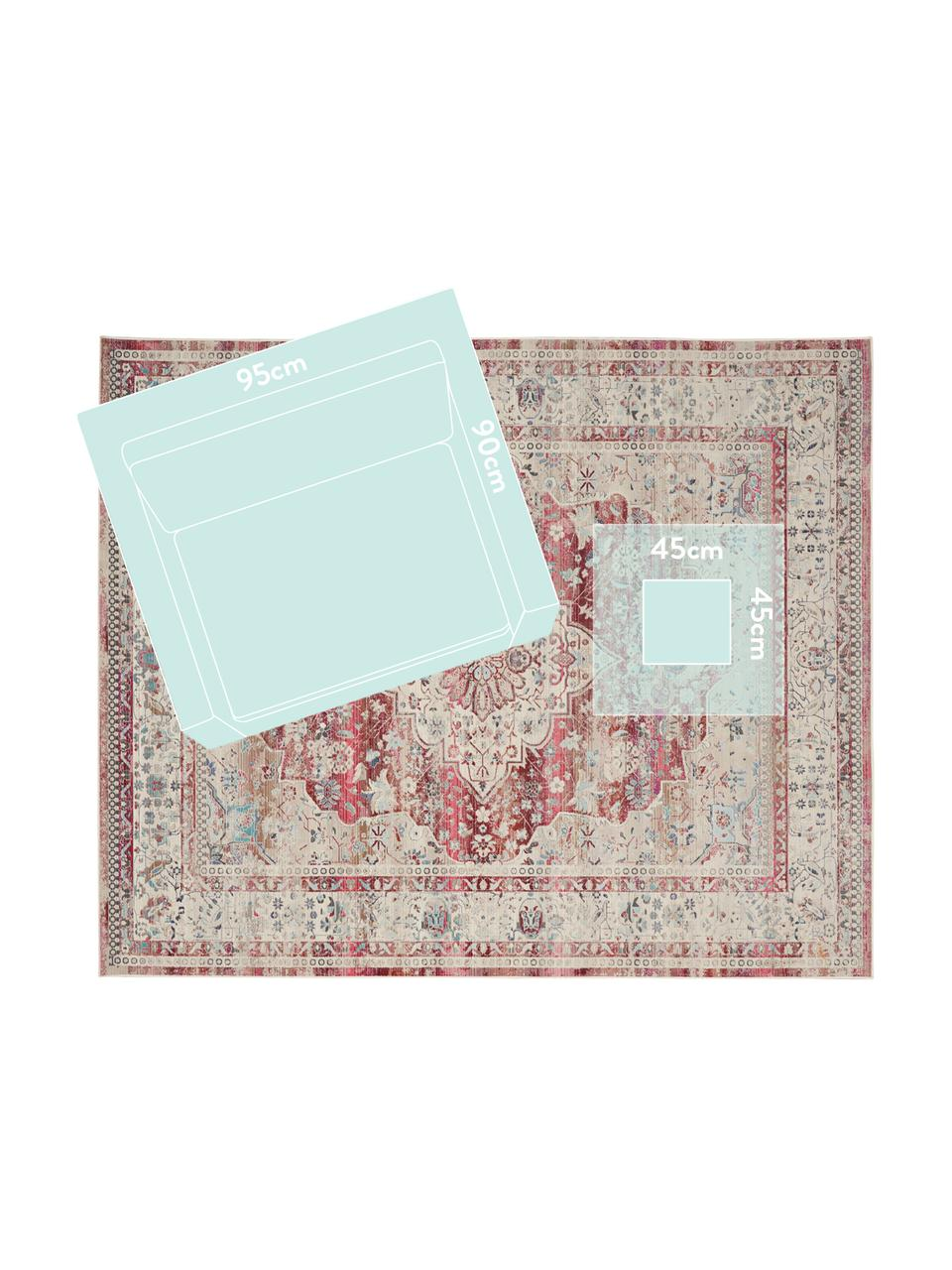 Vloerkleed Vintage Kashan met vintage patroon, Bovenzijde: 100% polypropyleen, Onderzijde: latex, Beige, rood, blauw, B 160 x L 240 cm (maat M)