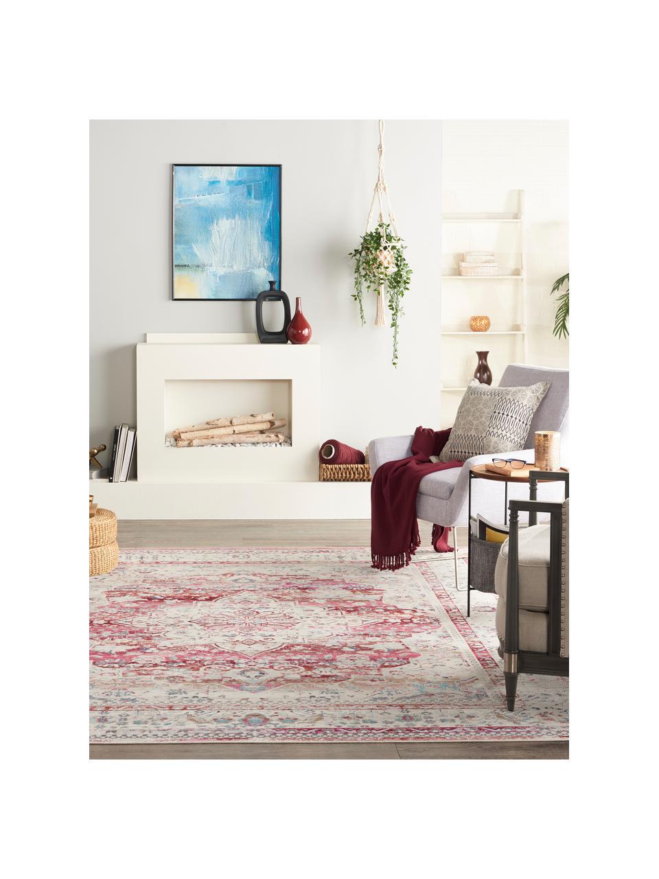 Teppich Vintage Kashan mit Vintagemuster, Flor: 100% Polypropylen, Beige, Rot, Blau, B 240 x L 300 cm (Größe L)