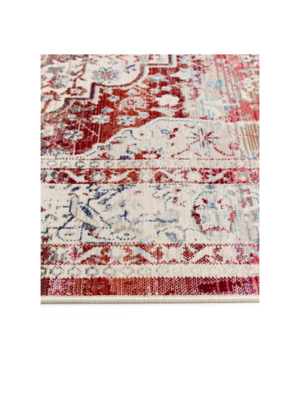 Tapis à poils ras Vintage Kashan, Beige, rouge, bleu