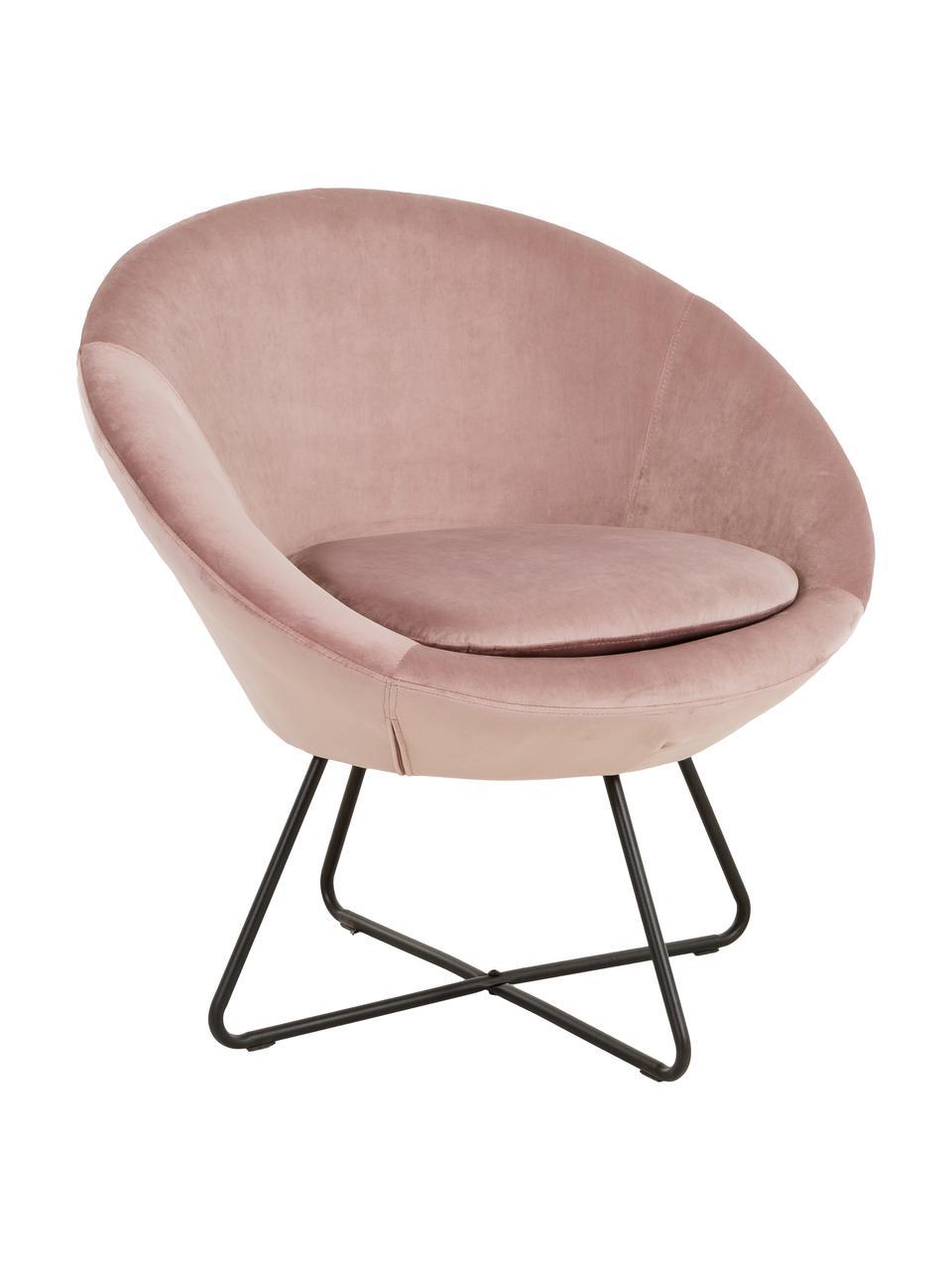 Poltrona in velluto rosa cipria Center, Rivestimento: velluto di poliestere Con, Gambe: metallo verniciato a polv, Velluto rosa cipria, Larg. 82 x Alt. 71 cm