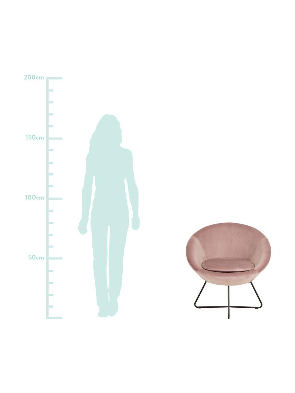 Fluwelen fauteuil Center in oudroze, Bekleding: polyester fluweel, Poten: metaal, ruw poedercoating, Fluweel oudroze, B 82 x D 71 cm