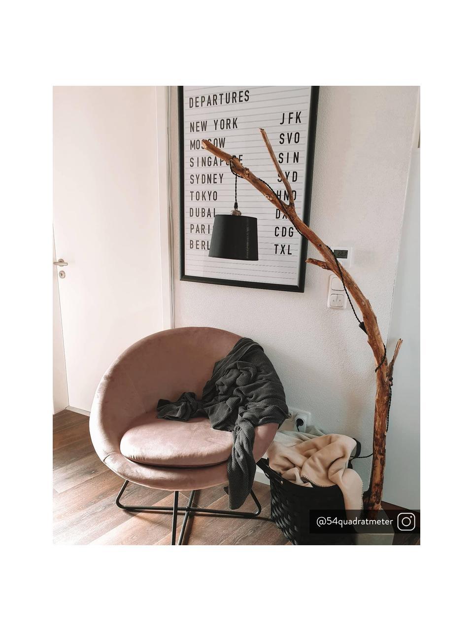 Fotel koktajlowy z aksamitu Center, Tapicerka: aksamit poliestrowy Dzięk, Nogi: metal chropowaty, malowan, Aksamitny brudny różowy, S 82 x G 71 cm
