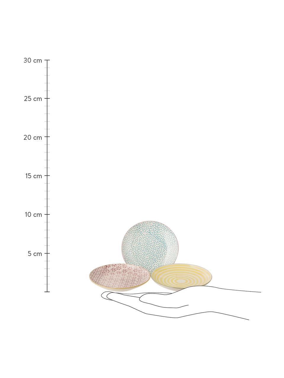 Komplet ręcznie malowanych talerzy Holly, 3 elem., Kamionka, Wielobarwny, Ø 16 cm