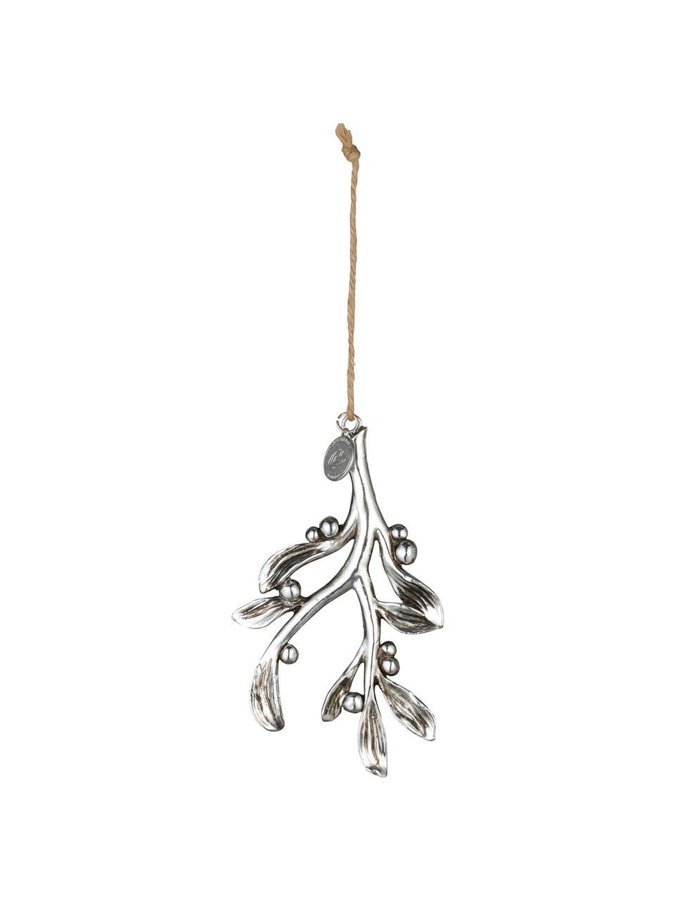Baumanhänger Serafina Mistletoe H 11 cm, 2 Stück, Silberfarben, 7 x 11 cm