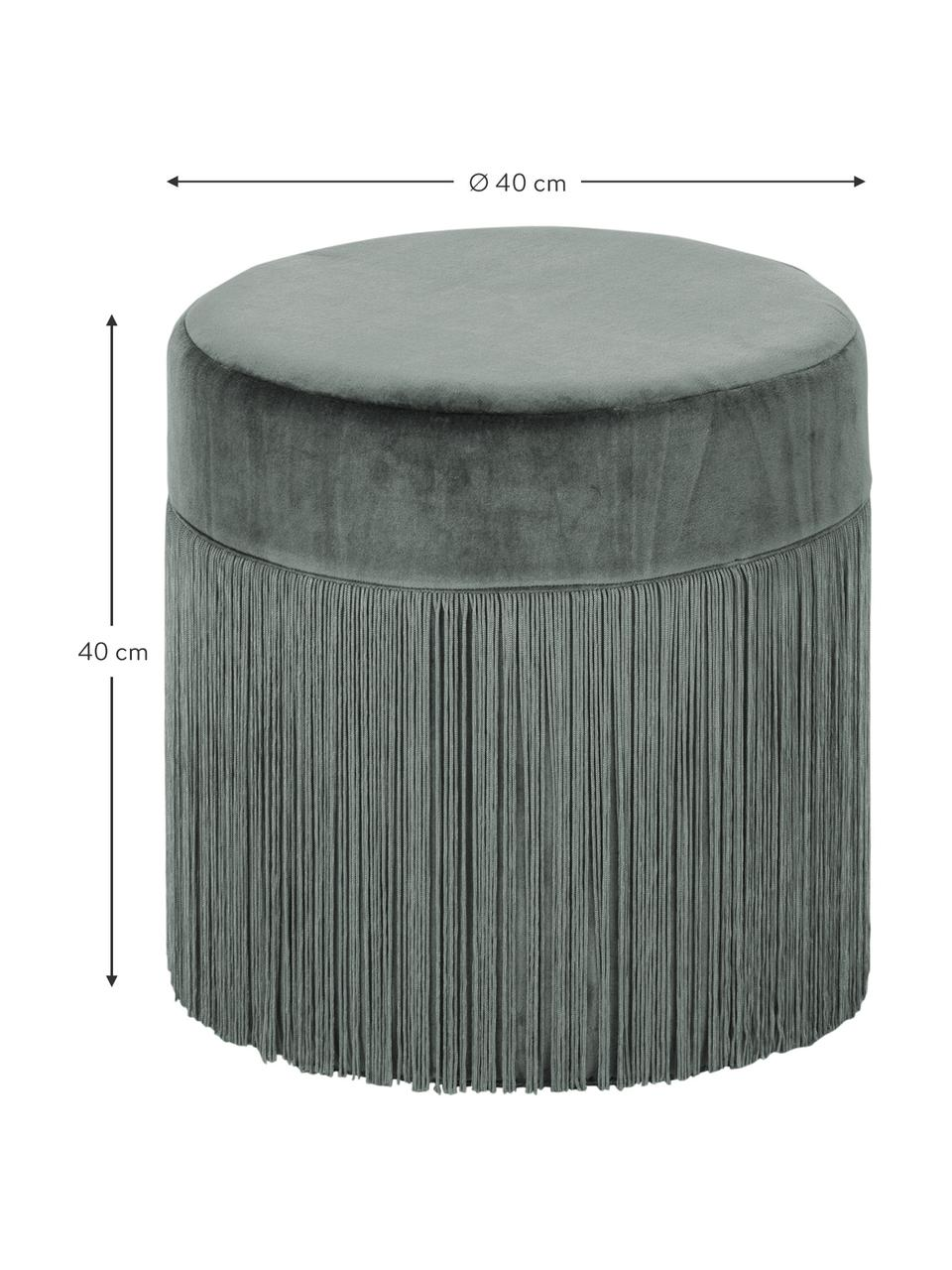 Pouf con frange Adriana, Rivestimento: velluto, Frange: viscosa, Verde salvia, Ø 40 x Alt. 40 cm