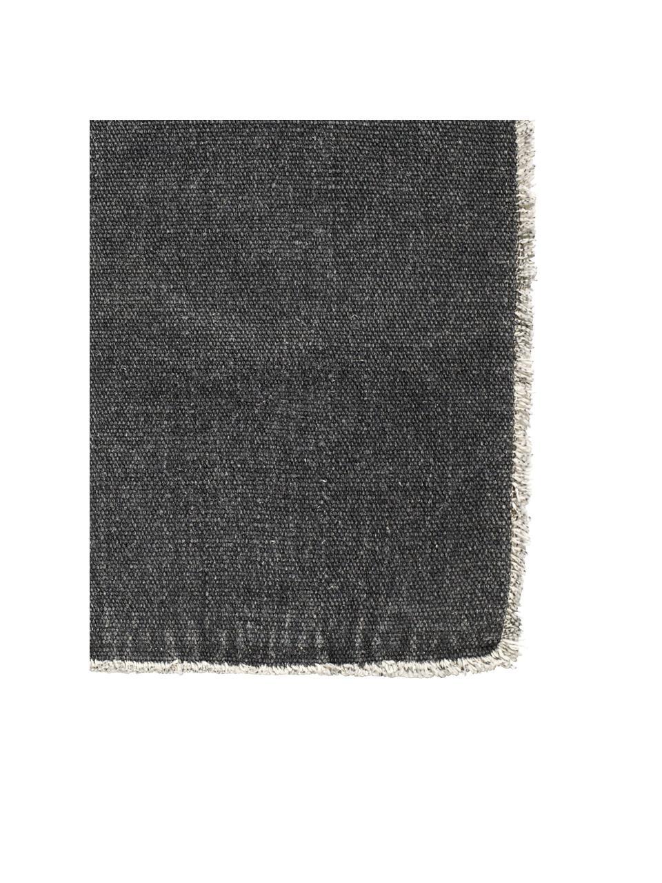 Tovaglietta americana Edge 6 pz, Misto cotone, stonewashed, Grigio scuro, Larg. 33 x Lung. 48 cm