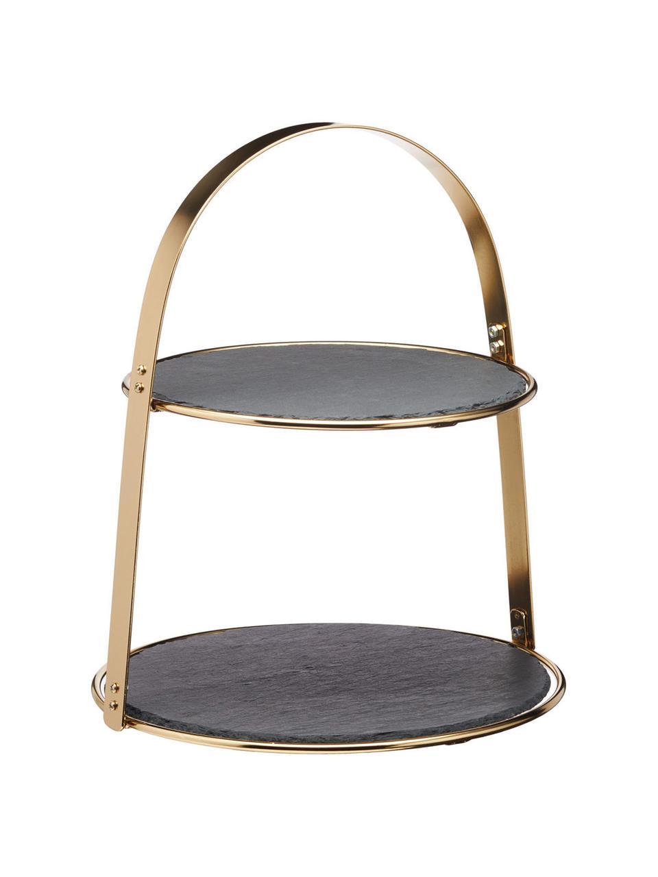 Alzatina con piatti in ardesia Artesa, Ripiani: ardesia, Struttura: metallo rivestito, Dorato, nero, Ø 30 x Alt. 35 cm