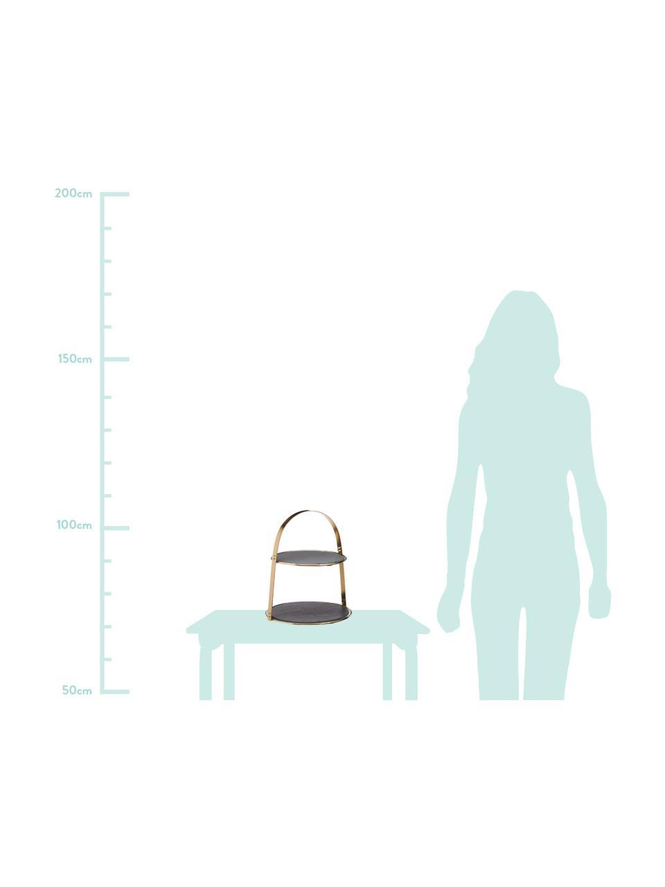 Etagère Artesa met leistenen plateaus, Ø 30 cm, Plateaus: leisteen, Frame: gecoat metaal, Goudkleurig, zwart, Ø 30 x H 35 cm