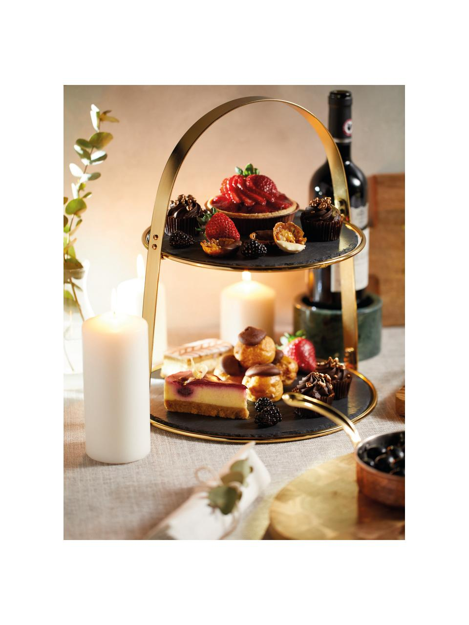 Présentoir à gâteaux Artesa, Ø30cm, Couleur dorée, noir