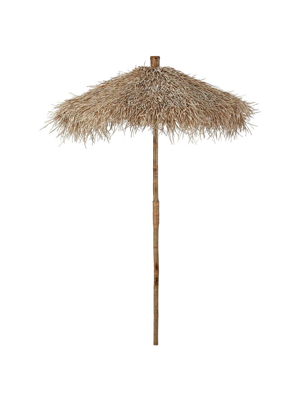 Decoratieve bamboe parasol van natuurlijke vezels Mandisa, Ø 150 cm, Bamboe, naturel, Bamboe, Ø 150 x H 240 cm