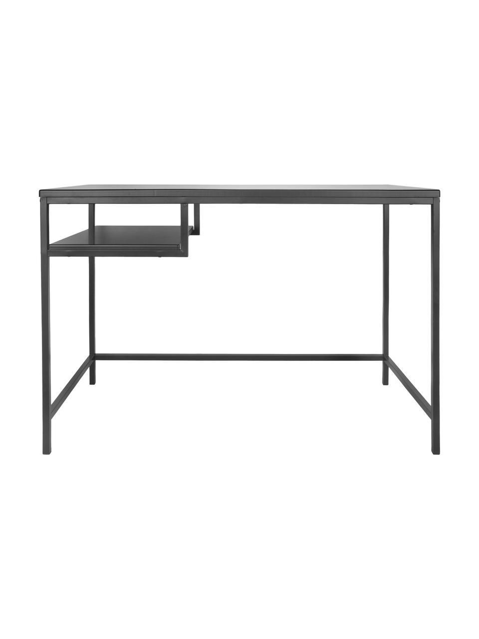 Metalen bureau Fushion in zwart, Frame: gepoedercoat metaal, Zwart, 114 x 76 cm