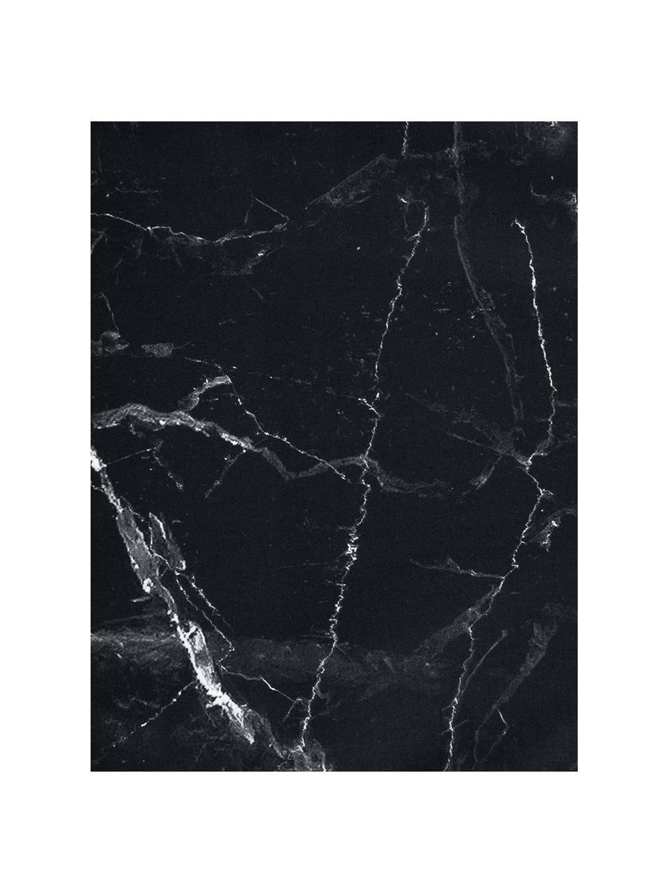Baumwollperkal-Bettwäsche Malin mit Marmor-Muster, Webart: Perkal Fadendichte 200 TC, Schwarz, 240 x 220 cm + 2 Kissen 80 x 80 cm