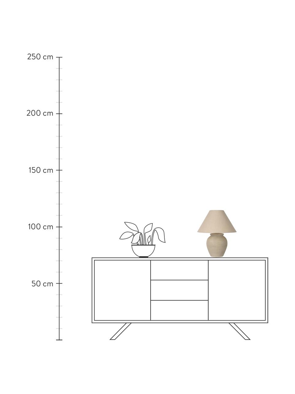 Keramik-Tischlampe Ramzi, Lampenschirm: Baumwolle, Lampenfuß: Keramik, Beige, Ø 34 x H 42 cm