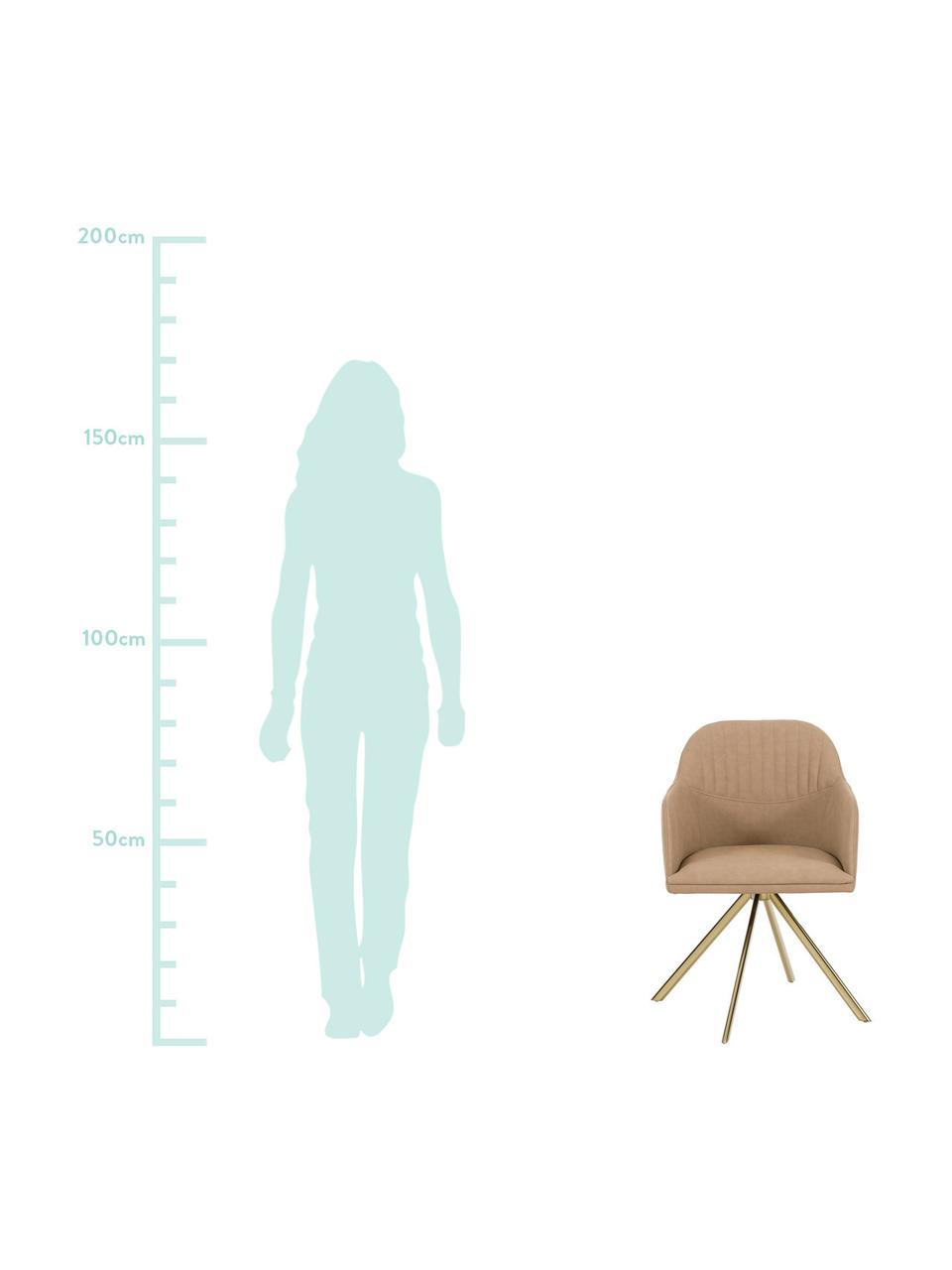 Kunstleder-Drehstuhl Lola mit Armlehne, Bezug: Kunstleder (Polyurethan) , Beine: Metall, galvanisiert, Hellbraun, B 55 x T 52 cm