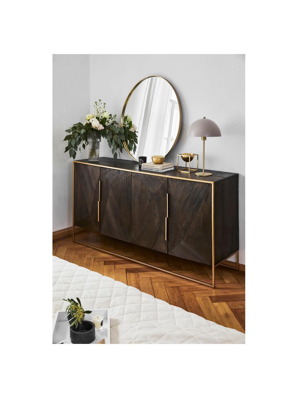 Komoda z litego drewna mangowego Harry, Korpus: lite drewno mangowe, laki, Stelaż: metal malowany proszkowo, Drewno mangowe, odcienie złotego, S 175 x W 85 cm