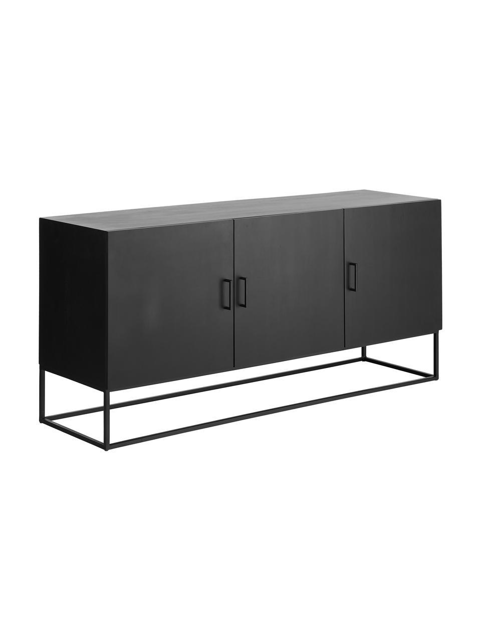 Schwarzes Sideboard Lyle mit Türen aus massivem Mangoholz, Korpus: Massives Mangoholz, lacki, Mangoholz, schwarz lackiert, 150 x 72 cm