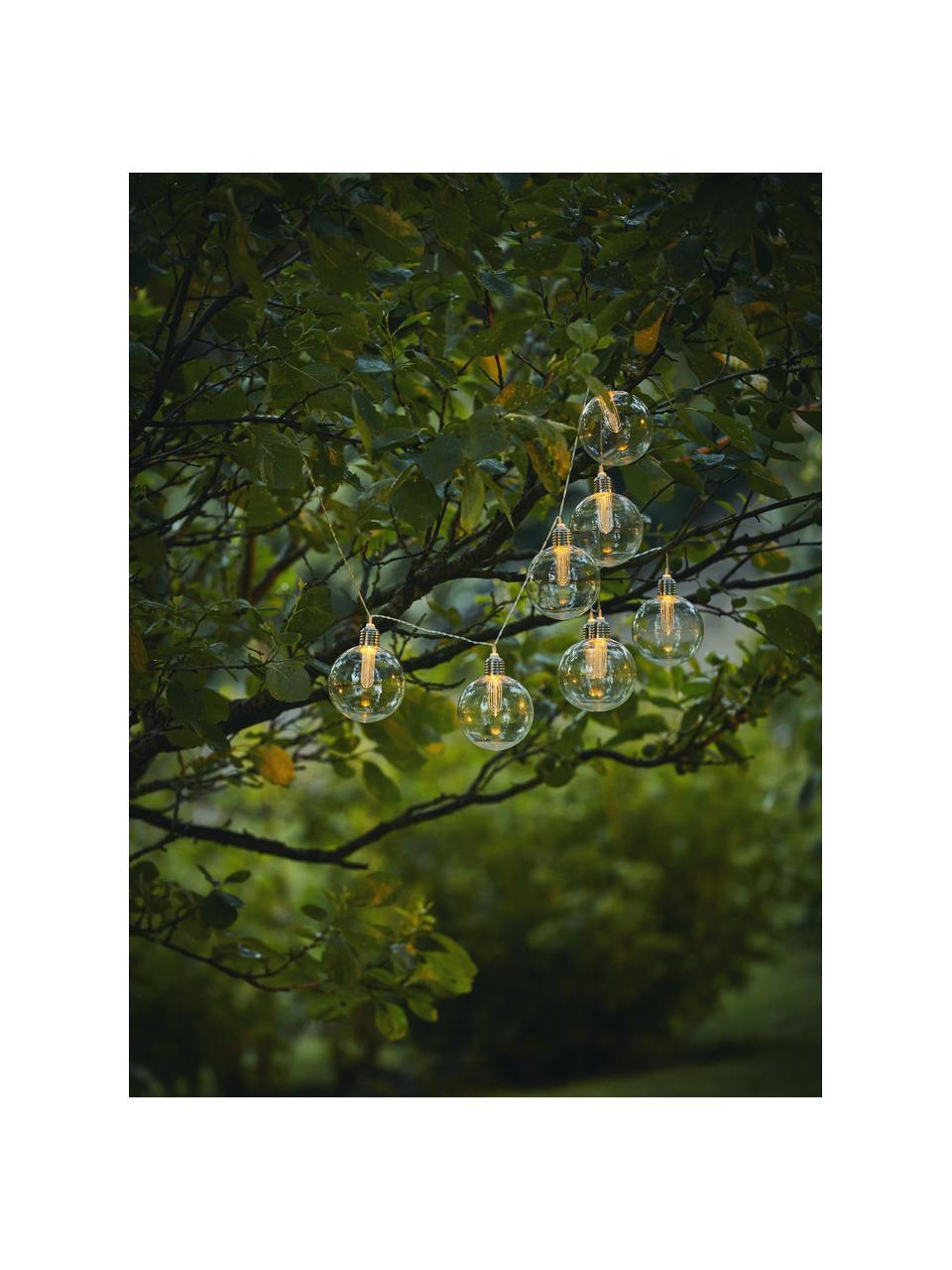 Solarna girlanda świetlna Chania, 245 cm i 8 lampionów, Transparentny, odcienie srebrnego, D 245 cm