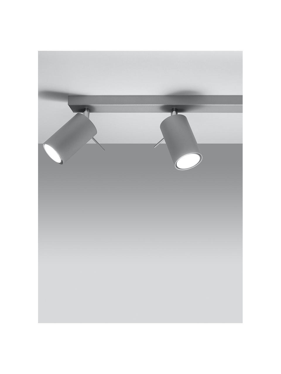 Faretti da soffitto grigi Etna, Paralume: acciaio verniciato, Baldacchino: acciaio verniciato, Grigio, Larg. 45 x Alt. 15 cm
