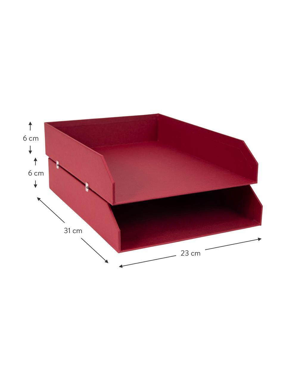 Organizer per documenti Hakan 2 pz, Solido, cartone laminato, Rosso scuro, Larg. 23 x Prof. 31 cm