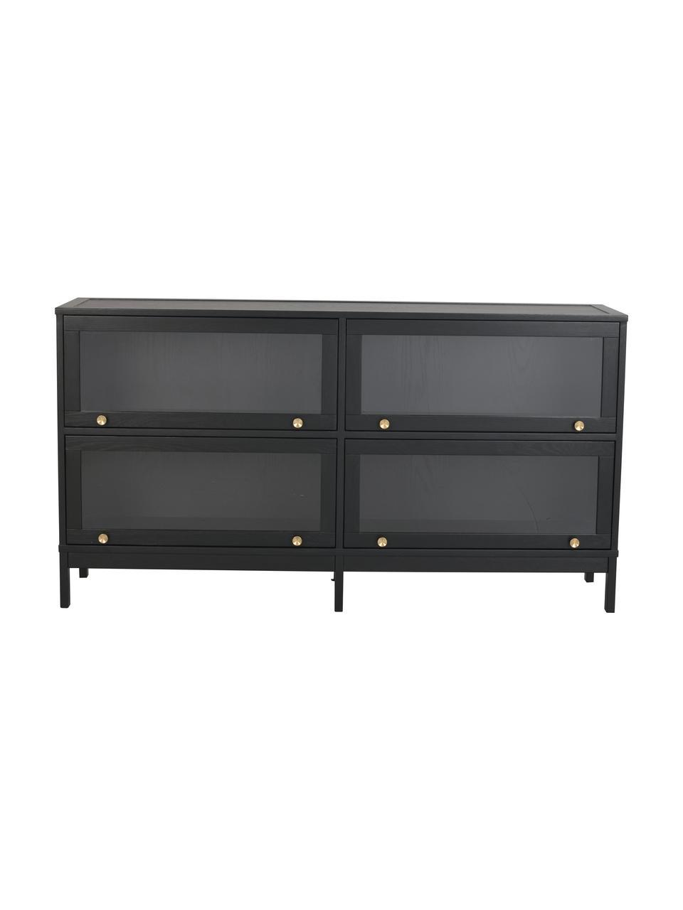Sideboard Kilmore mit Glastüren in Schwarz, Griffe: Metall, lackiert, gebürst, Schwarz, 150 x 81 cm
