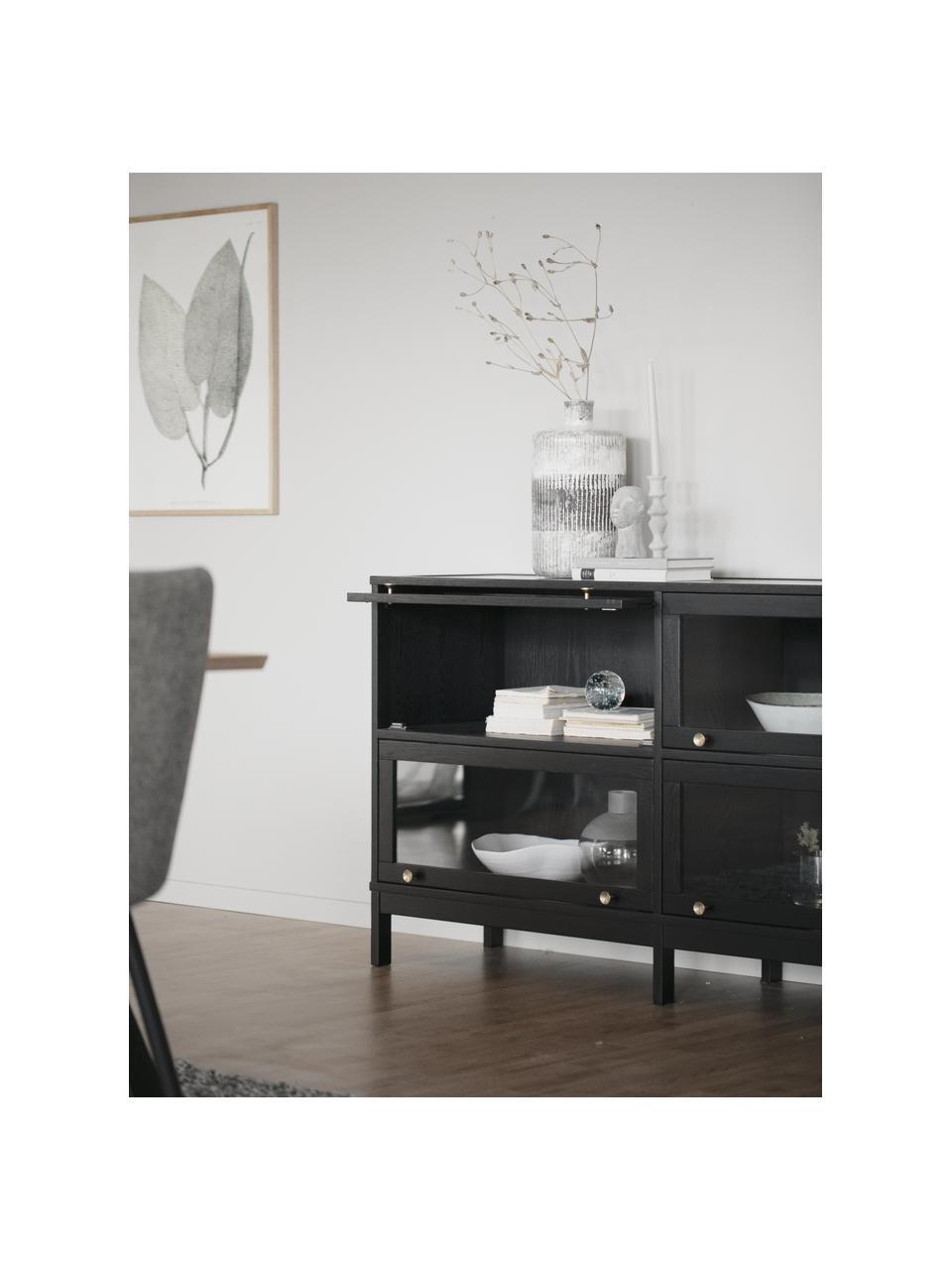Dressoir Kilmore in zwart met klapdeuren, Handvatten: geborsteld gelakt metaal, Zwart, 150 x 81 cm