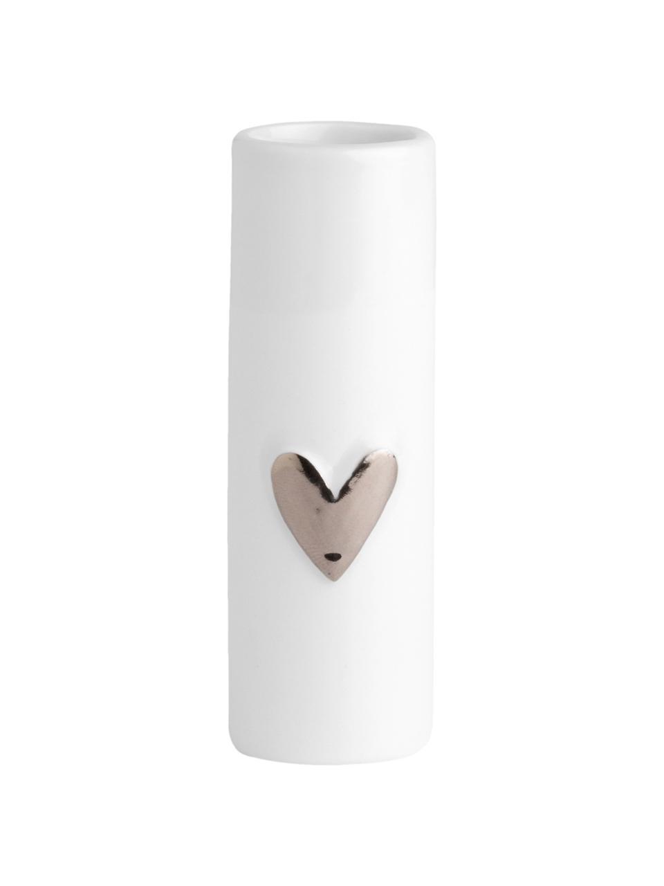 XS Porzellan-Vase Heart, 2 Stück, Porzellan, Weiß, Silberfarben, Ø 4 x H 9 cm
