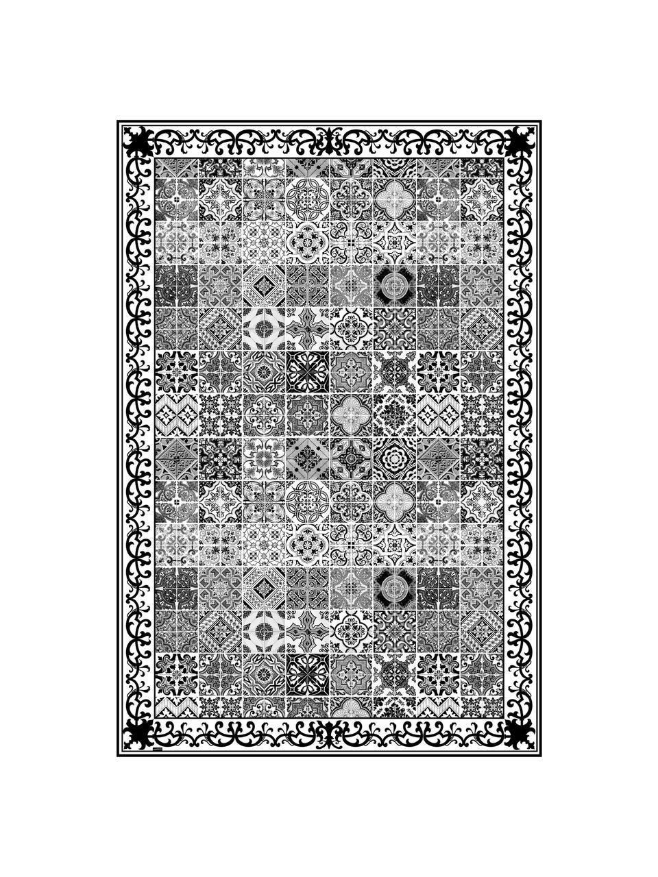 Vlakke vinyl vloermat Olè in zwart en wit, antislip, Recyclebaar vinyl, Zwart, wit, grijs, 136 x 203 cm