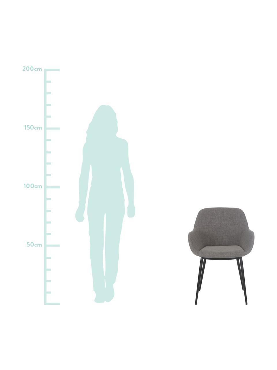 Krzesło z podłokietnikami Kona, 2szt., Tapicerka: poliester Dzięki tkaninie, Nogi: metal lakierowany, Szary, S 59 x G 56 cm