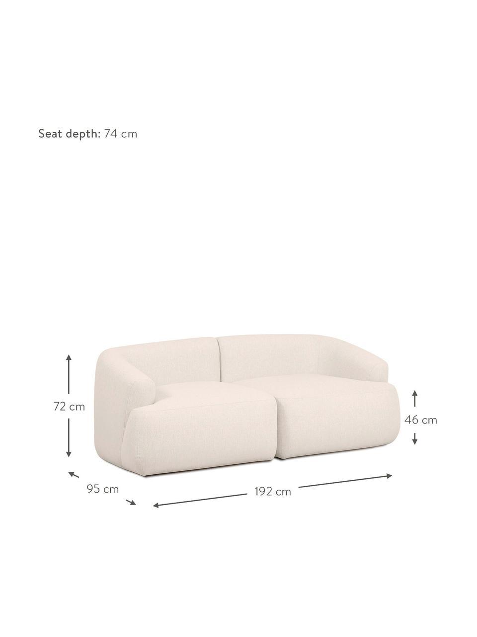 Modulaire bank Sofia (2-zits), beige, Bekleding: 100% polypropyleen. Marti, Frame: massief grenenhout, spaan, Poten: kunststof, Geweven stof beige, 192 x 95 cm