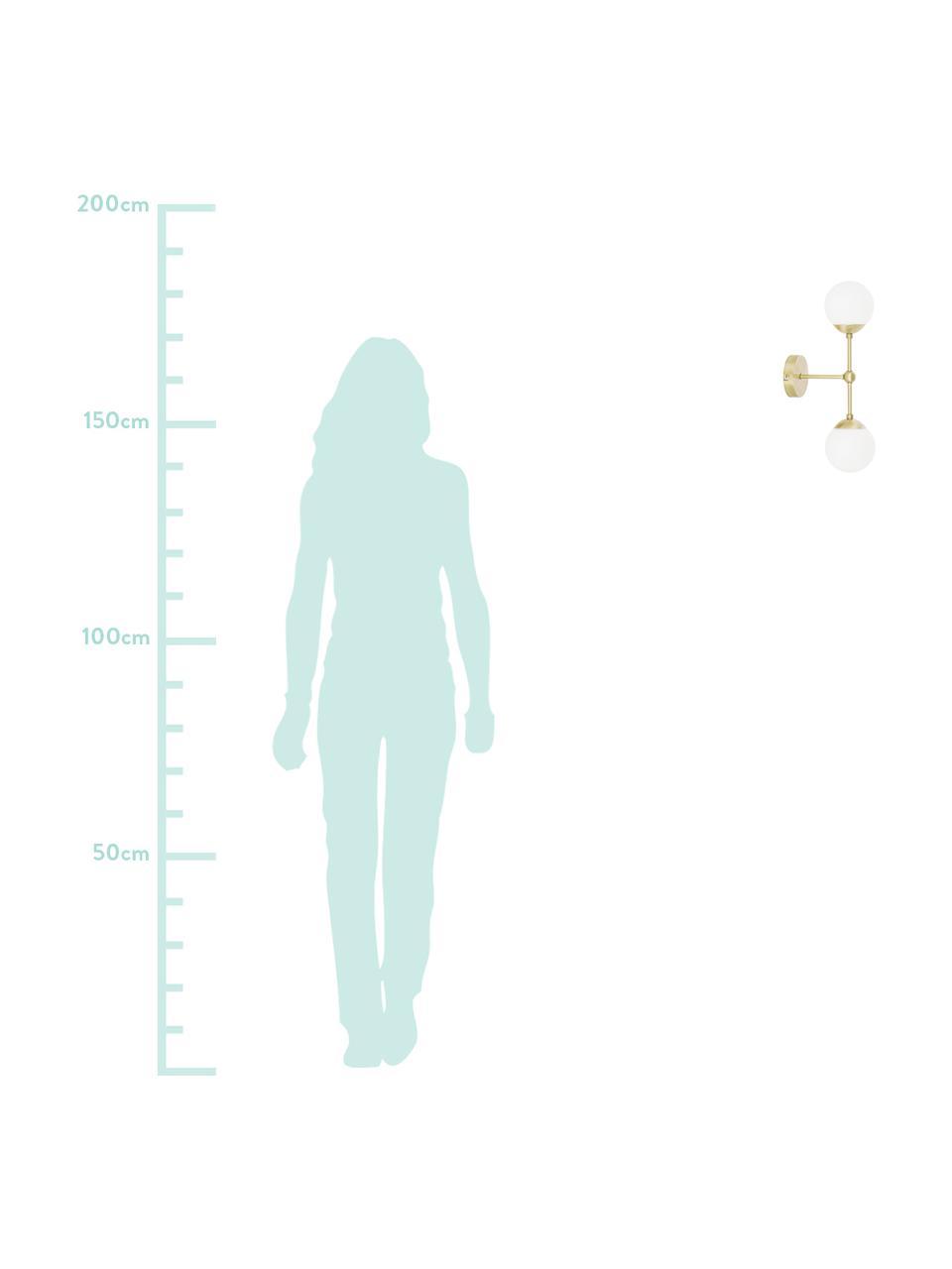 Wandlamp Beth van opaalglas, Frame: vermessingd metaal, Wit, messingkleurig, Ø 12 x H 45 cm