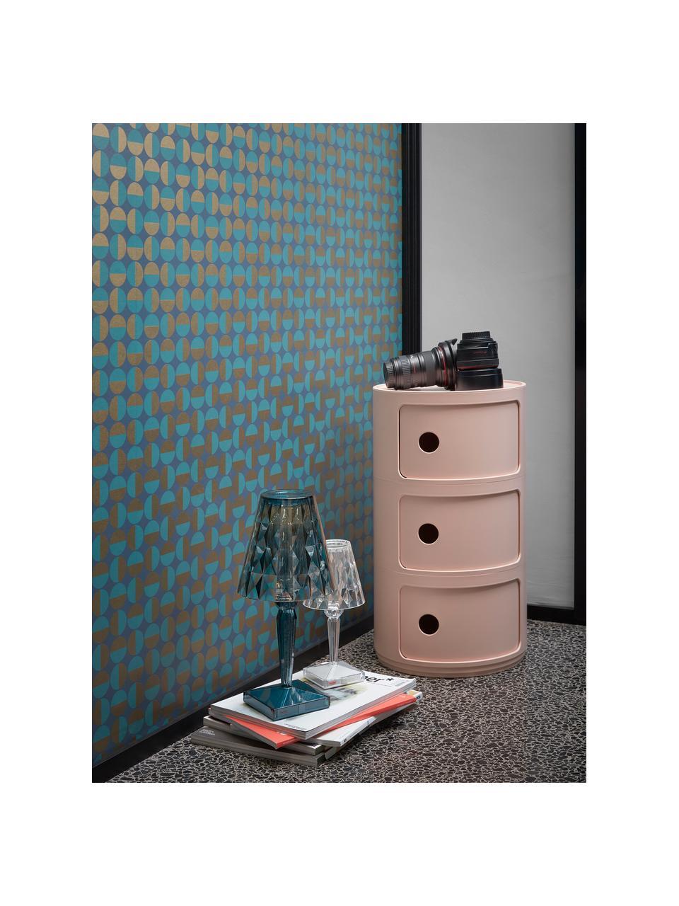Design bijzettafel Componibile, 3 vakken, 100% biopolymeer van hernieuwbare grondstoffen, Roze, mat, Ø 32 x H 59 cm