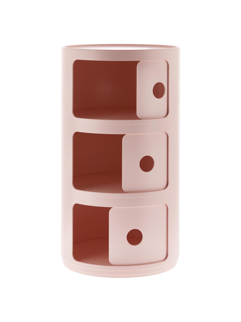 Comodino contenitore di design con 3 cassetti Componibili, 100% biopolimero da materie prime rinnovabili, Rosa opaco, Ø 32 x Alt. 59 cm