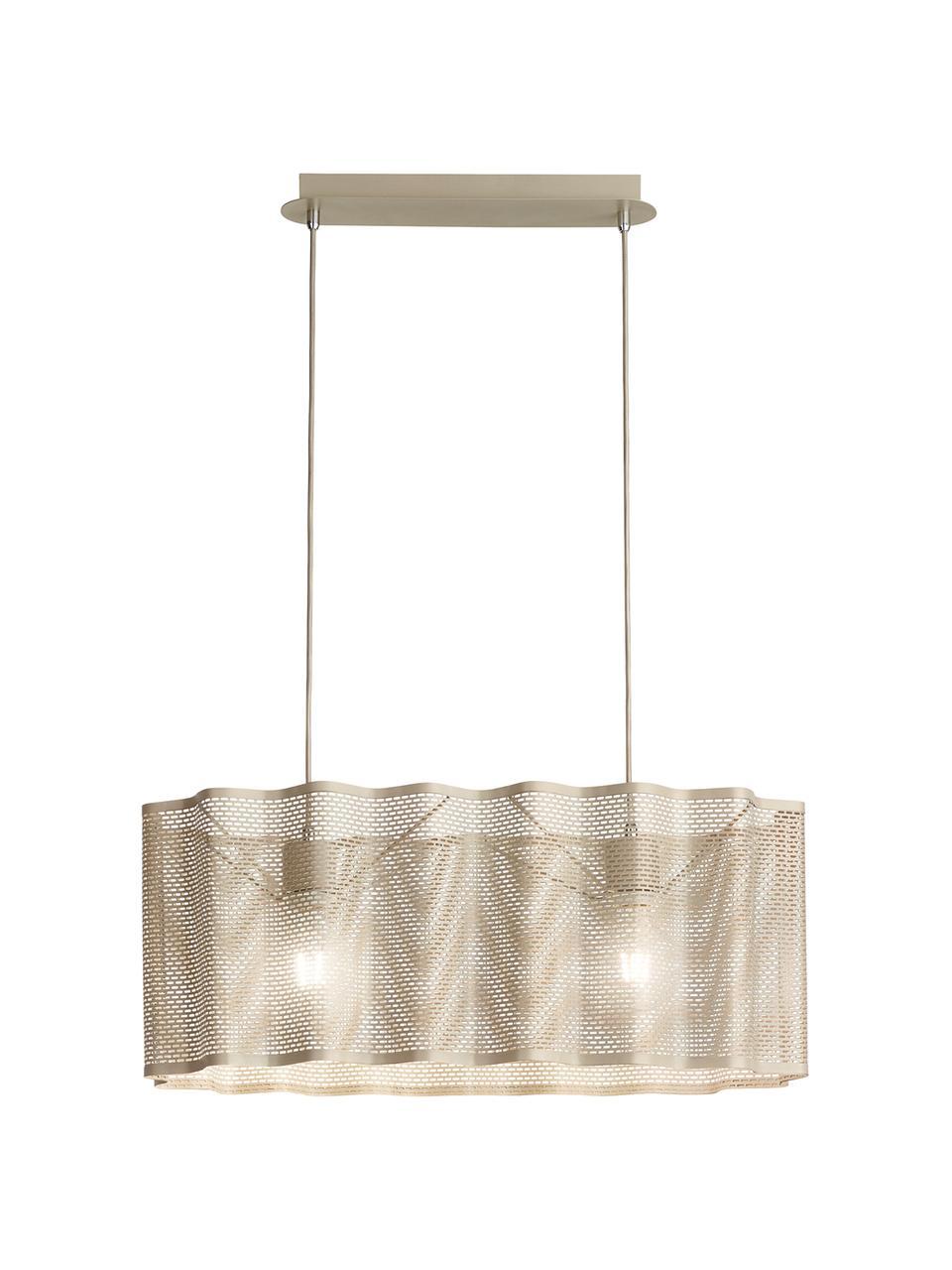 Lampada a sospensione ovale dorata Glicine, Paralume: metallo rivestito, Baldacchino: metallo rivestito, Dorato, Larg. 70 x Alt. 28 cm
