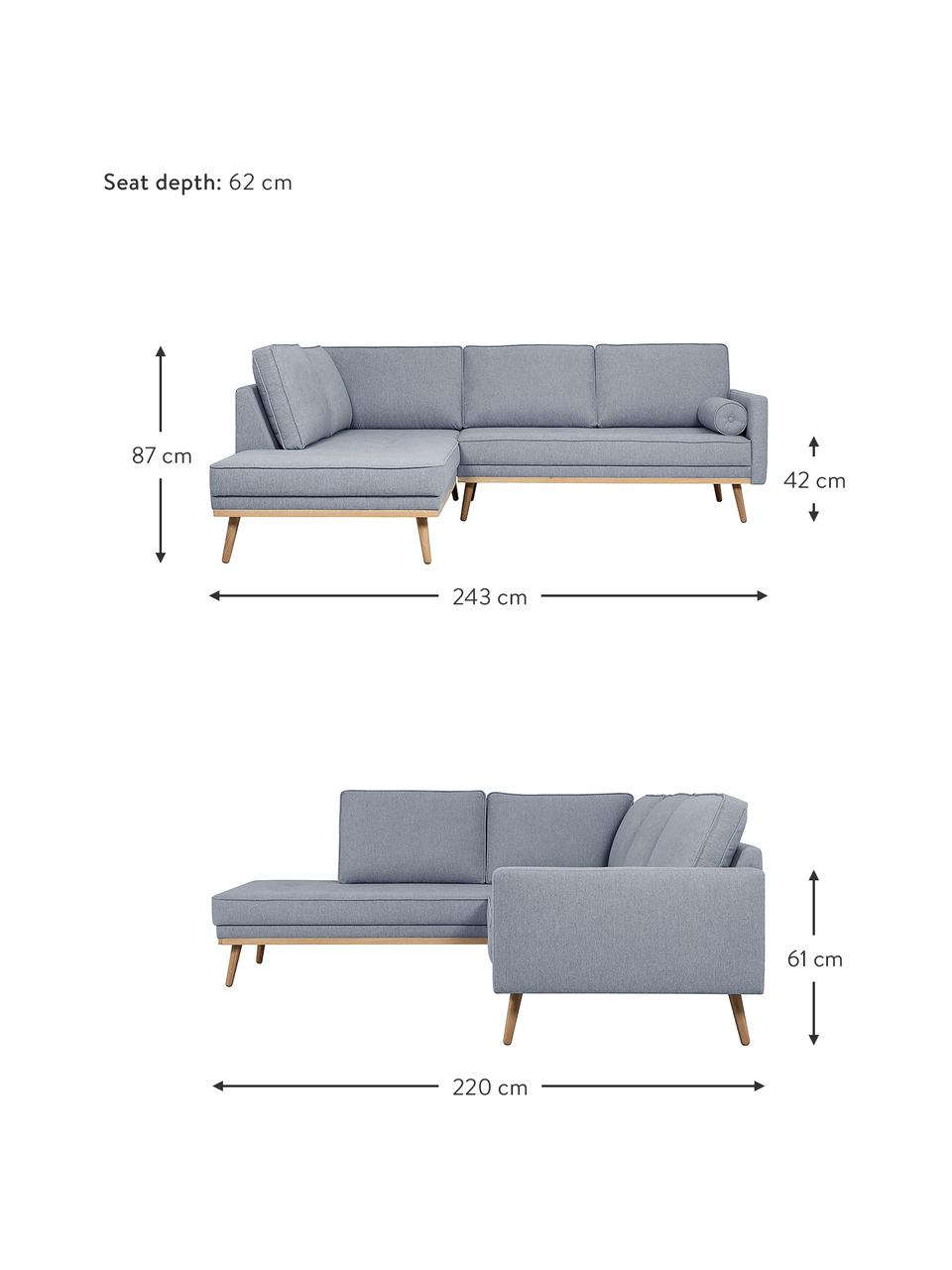 Canapé d'angle 3places bleu-gris Saint, Tissu bleu-gris
