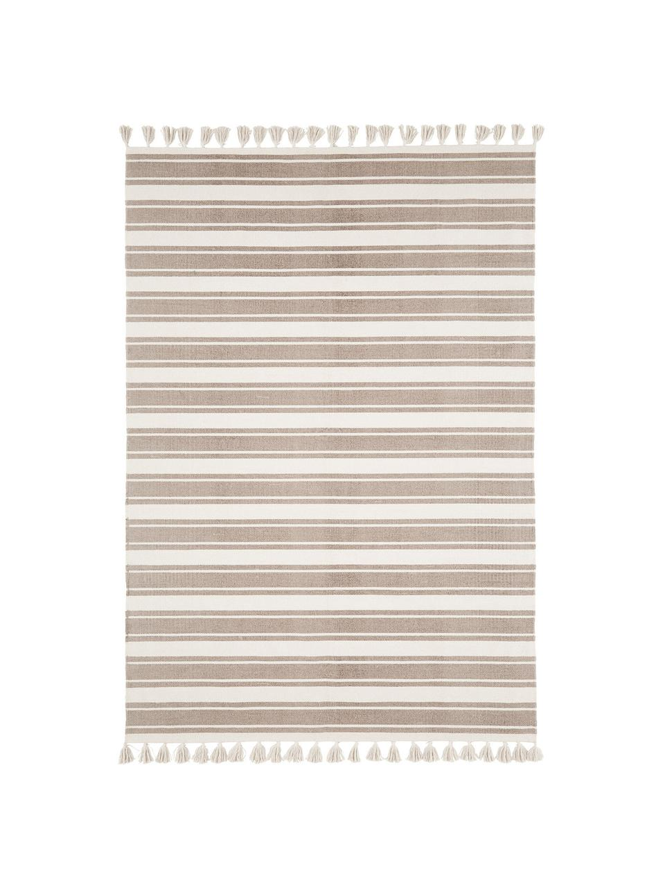 Gestreifter Baumwollteppich Vigga mit Quasten, handgewebt, 100% Baumwolle, Taupe, Beige, B 160 x L 230 cm (Größe M)