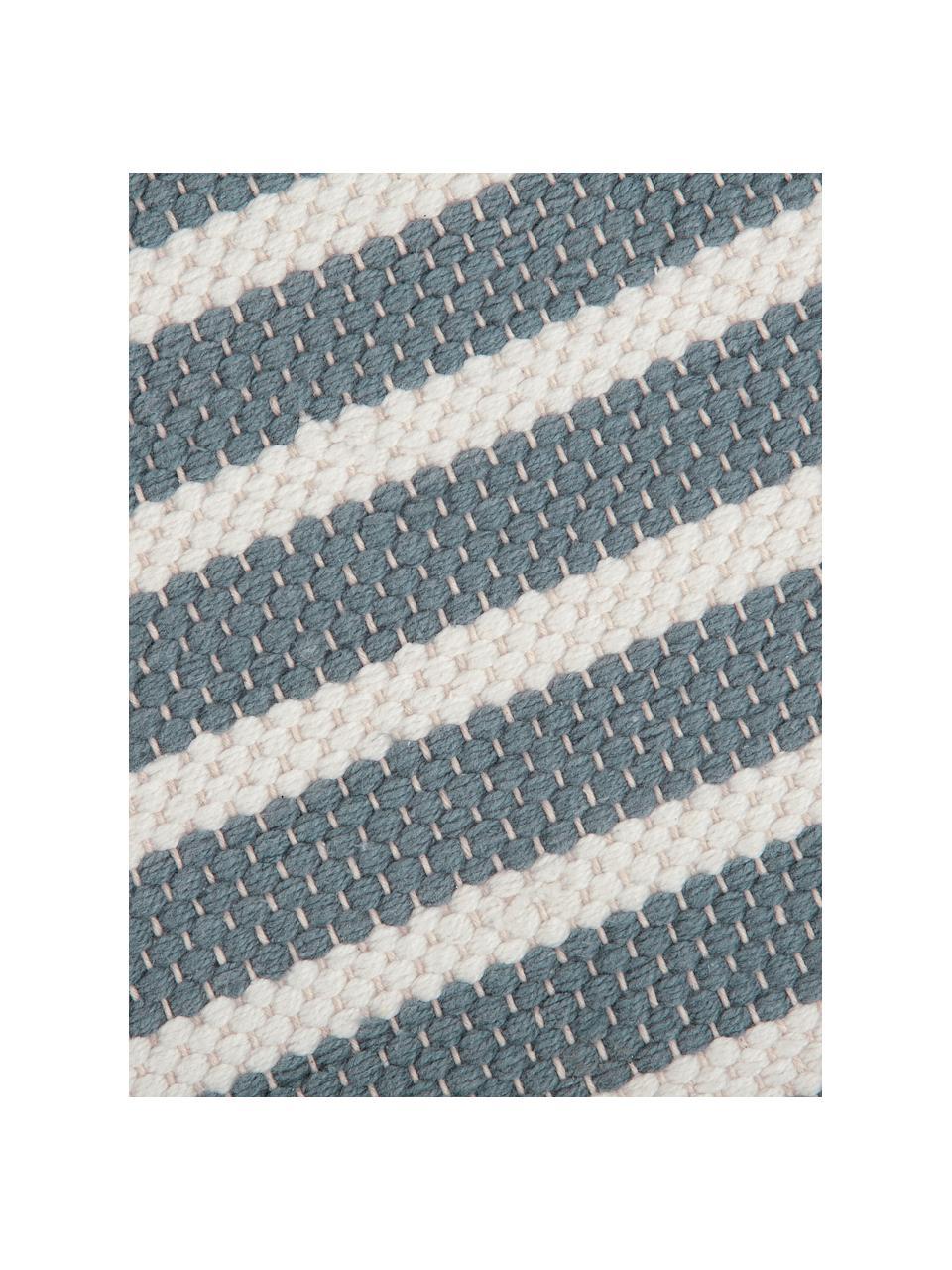 Gestreifter Badvorleger Stripes & Structure mit Fransenabschluss, 100% Baumwolle, Blau, gebrochenes Weiß, 60 x 100 cm