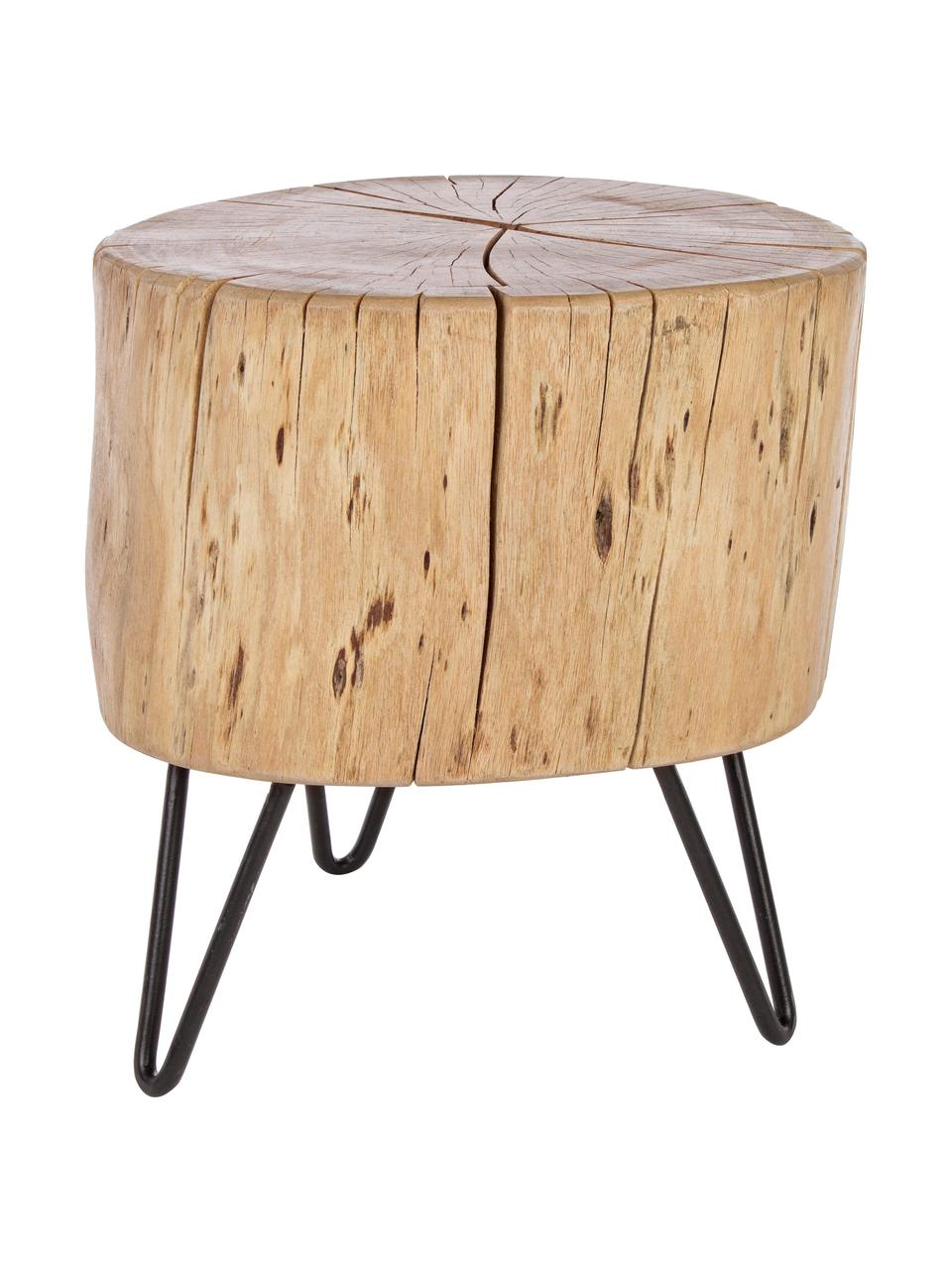 Tavolino in legno di acacia Arthur, Piedini: metallo, Marrone, nero, Larg. 35 x Alt. 35 cm