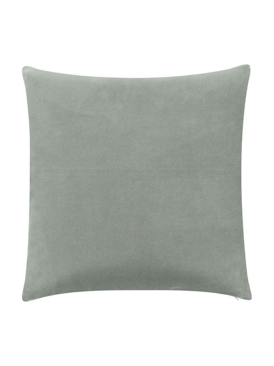 Poszewka na poduszkę z aksamitu Shiny, Aksamit bawełniany, Szałwiowy zielony, odcienie złotego, S 40 x D 40 cm