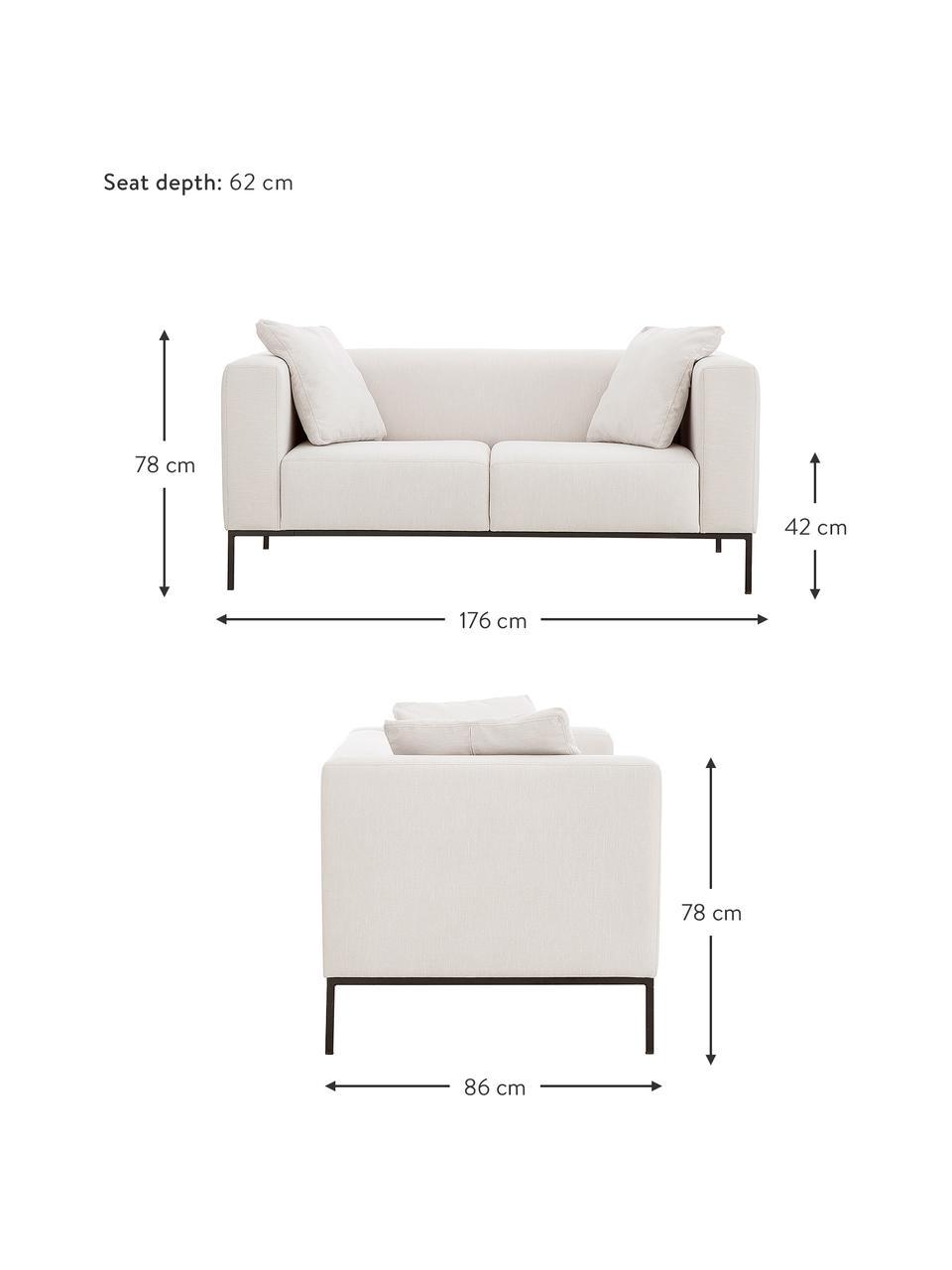 Sofa Carrie (2-Sitzer) in Hellgrau mit Metall-Füßen, Bezug: Polyester 50.000 Scheuert, Gestell: Spanholz, Hartfaserplatte, Füße: Metall, lackiert, Webstoff Hellgrau, B 176 x T 86 cm