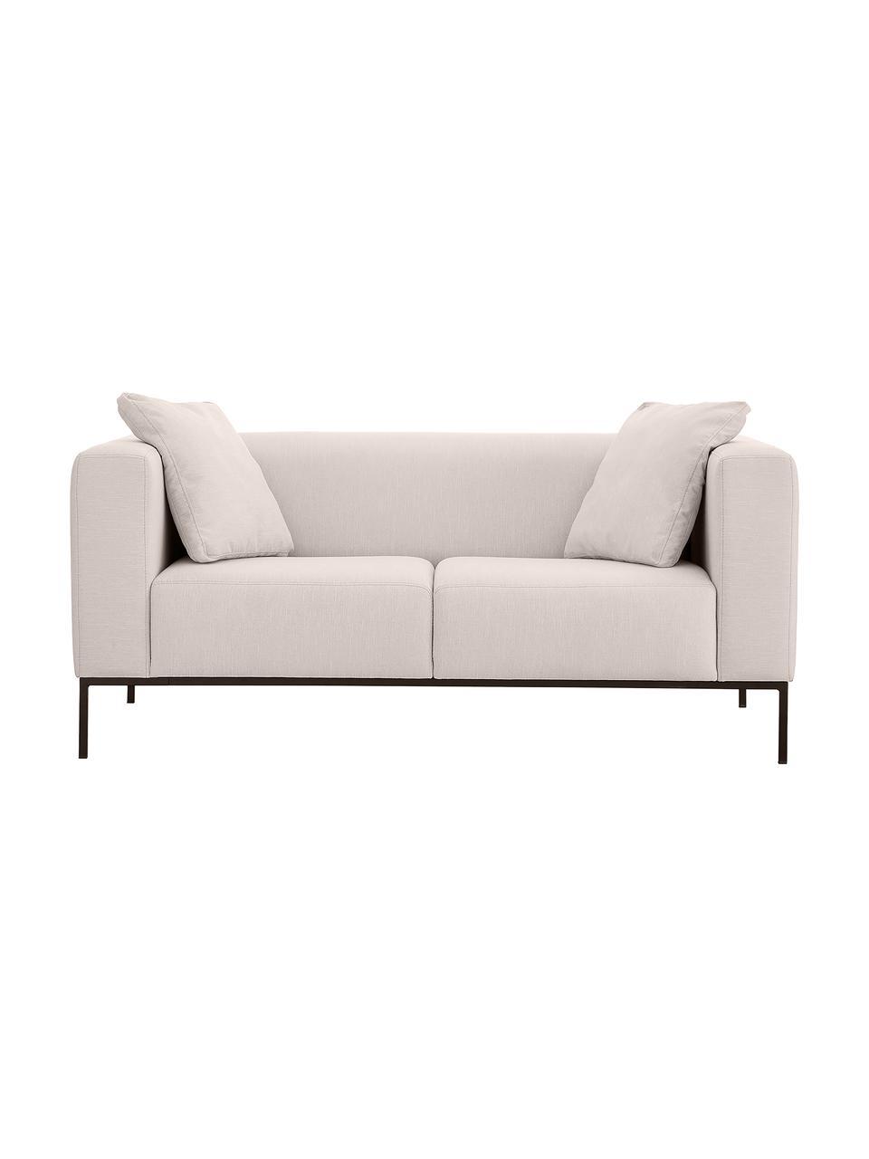 Canapé 2places gris clair Carrie, Tissu gris clair