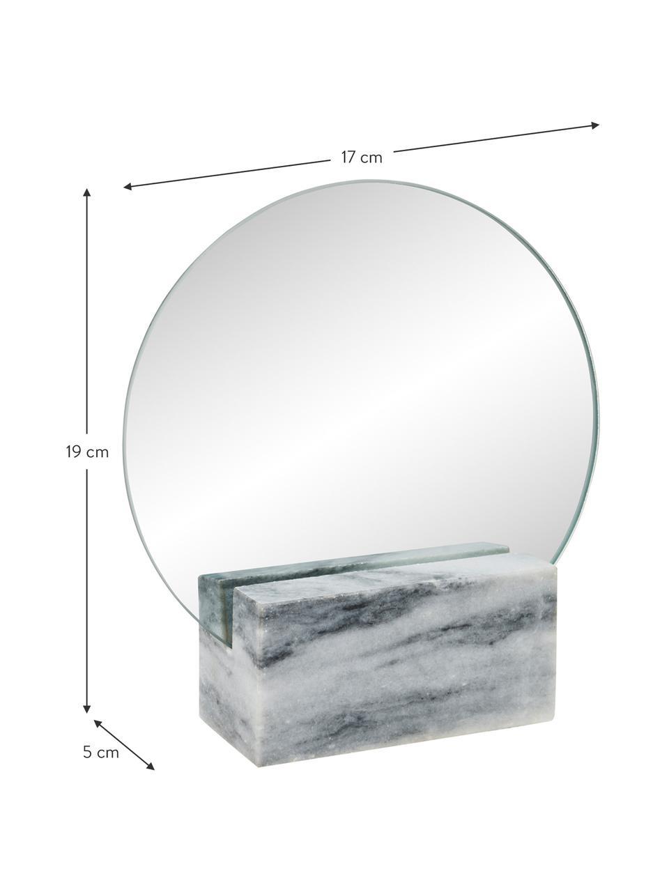 Marmor-Kosmetikspiegel Humana, Spiegelfläche: Spiegelglas, Fuß: Marmor, Grau, 17 x 19 cm