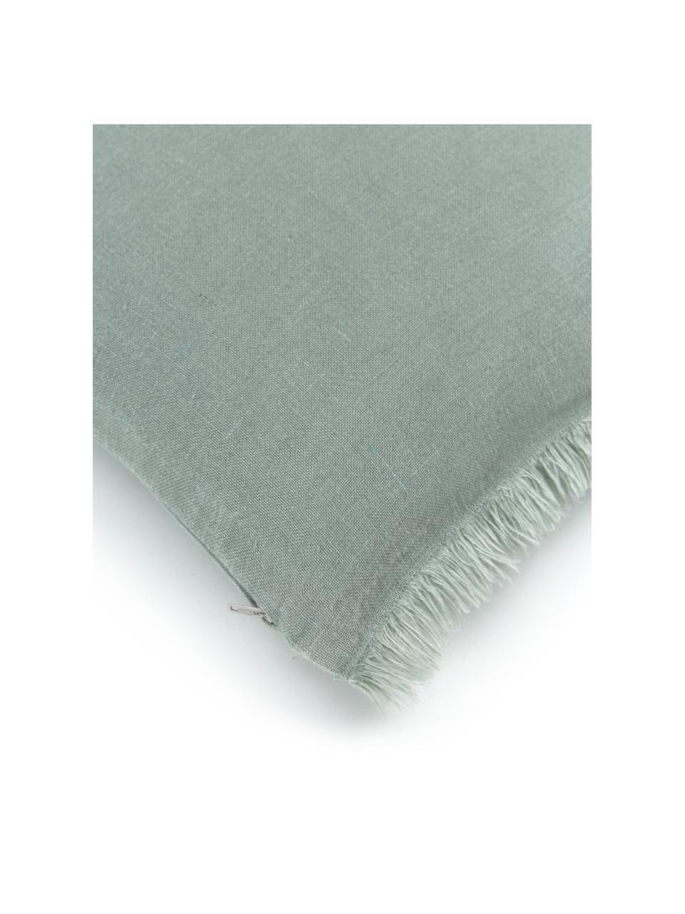 Federa arredo in lino verde salvia con frange Luana, 100% lino, Verde, Larg. 40 x Lung. 40 cm